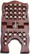 Wooden Hand Carved Holy Book Quran Stand - Rehal : Chokori Design Brass Inlay (Size Medium 13